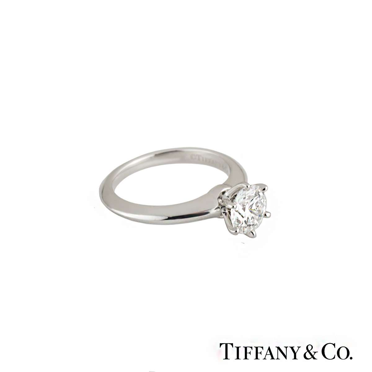 Tiffany & Co. Platinum Diamond Setting Ring 1.23ct F/VS2 XXX
